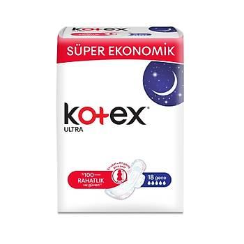 Kotex Ultra Hijyenik Ped Süper Ekonomik Gece 18'li