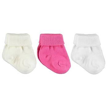 Mini Damla Fuþya-Beyaz- Krem 3'lü Bebek Soket Çorap