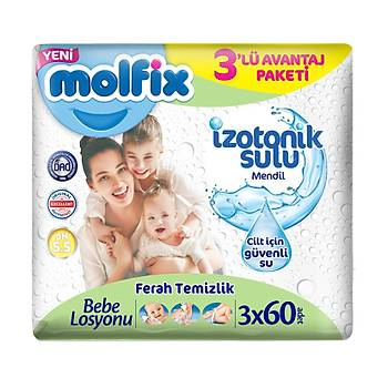 Molfix Ýzotonik Sulu Ferah Temizlik 60x3'lü Paket Islak Mendil