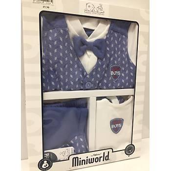 MiniWorld Papyonlu 5 li Set -Füme - Mavi