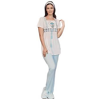 Mecit 5205 Bayan Hamile Lohusa Ekose Desen Sabahlýk Pijama Takýmý