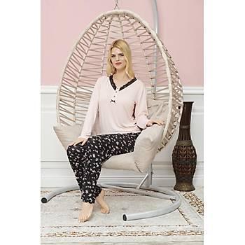 Ýntimo Bayan Uzun Kollu Pijama Takýmý Pembe 7568