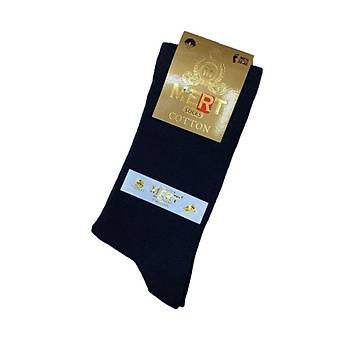 12 Çift Mert Erkek Düz Renk 4 Mevsimlik Çorap Siyah Pamuklu