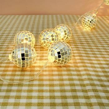 Mini Disco Topu Þeklinde Dekoratif Pilli Led Gece Lambasý 10 Lu