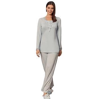 Mecit 5229 Bayan Dantelli Puantiye Desen Uzun Kol Pijama Takýmý