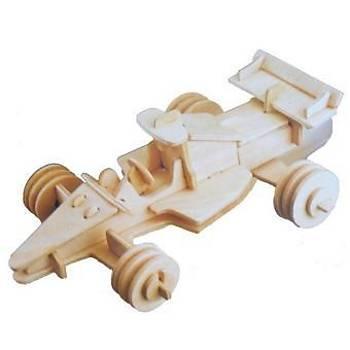 3D Ahþap Puzzle Yapboz Maket Araba F1 Boyanabilir G-P081 52 Parça