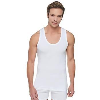 12 li Paket Tutku Erkek Ribana Atlet Beyaz %100 Pamuk