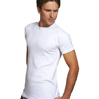 X-Man 229 Erkek T-Shirt Erkek Kýsa Kol Atlet Beyaz Ribana Kumaþ