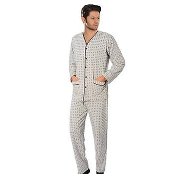Aysu 2050 Önden Bütün Düðmeli Erkek Penye Uzun Kol Pijama Takýmý