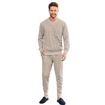 Mecit 2757 Desenli Büyük Beden Erkek Uzun Kol Pijama Takýmý