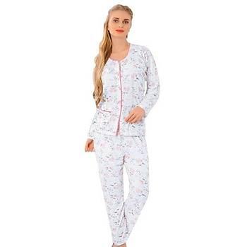 Aysu 1100 Önden Bütün Düðmeli Bayan Uzun Kol Pijama Takýmý