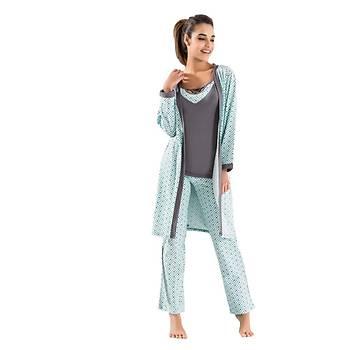 Derya Kurþun 1041 Bayan Puanlý Kalp Desen Sabahlýk Pijama Takýmý