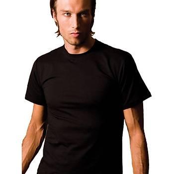 X-Man 705 Erkek T-Shirt Sýfýr Yaka Kýsa Kol Erkek Likralý Atlet