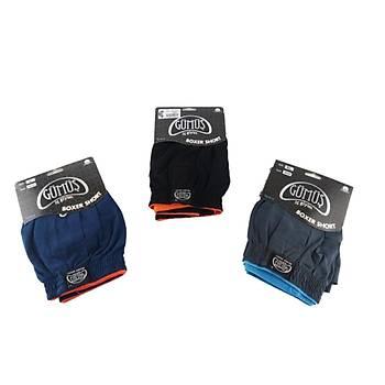 3 lü Paket Gümüþ Erkek Penye Boxer Düz Renk Pamuklu Erkek Boxer