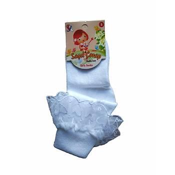 12 Çift Sayýl Kýz Çocuk Tüllü Dantelli Kýz Çocuk Çorap Beyaz