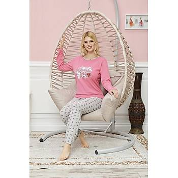 Ýntimo Bayan Uzun Kollu Pijama Takýmý Pembe 7590