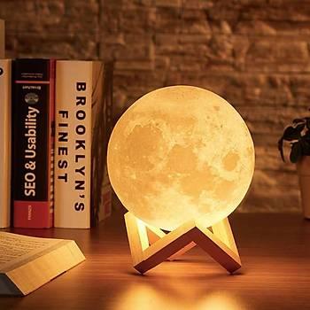 3D LED Ay Gece Lambasý Aydýnlatma Sarj Edilebilir Lamba 15 cm