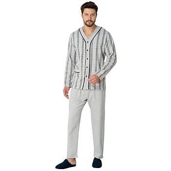 Mecit Erkek Önden Düðmeli Uzun Kol Büyük Beden Pijama Takýmý 2767