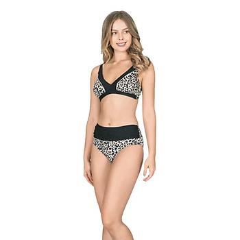 Nbb 55211 Bayan Leopar Desenli Bikini Mayo