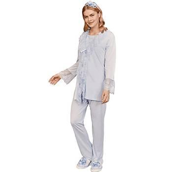 Mecit 5204 Bayan Hamile Lohusa Dantel Yaka Sabahlýk Pijama Takýmý