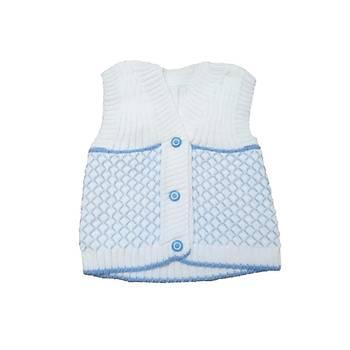 1 Yaþ Erkek Bebek Kolsuz Yelek Mavi Beyaz Erkek Bebek Yelek