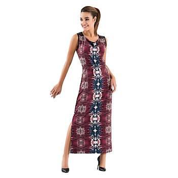 Derya Kurþun 956 Bayan Desenli Kolsuz Yýrtmaçlý Uzun Elbise