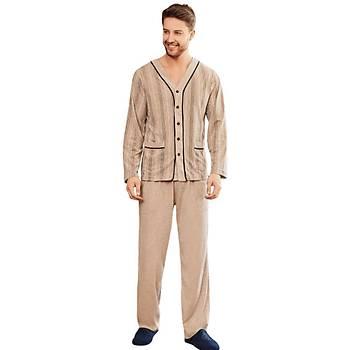 Mecit 2758 Önden Düðmeli Büyük Beden Erkek Uzun Kol Pijama Takýmý