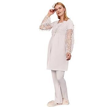 Mecit 5201 Bayan Hamile Lohusa Sabahlýk Pijama Takýmý