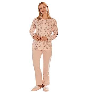 Mecit 5265 Önden Düðmeli Bayan Desenli Büyük Beden Pijama Takýmý