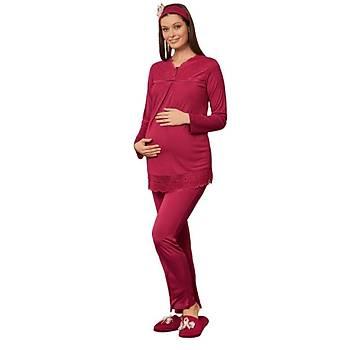 Mecit 5108 Sabahlýklý Bayan Hamile Lohusa Gecelik Pijama 4 lü Set