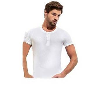 6 lý Paket Erdem 1125 Erkek Kýsa Kol Düðmeli Fitilli Atlet T-Shirt