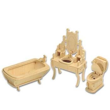 3D Ahþap Puzzle Yapboz Maket Banyo Boyanabilir G-P035