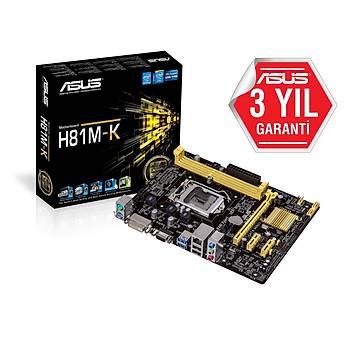 Asus H81M-K 1150P DDR3 Vga Dvi Usb3.0