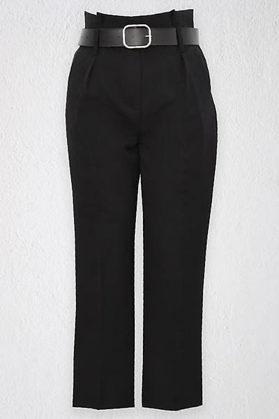 Renklen Kad�n Siyah Y�ksek Bel Yan Cepli Deri Kemerli Pantolon