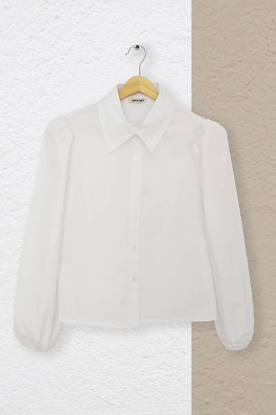Renklen Kad�n Klasik Yaka B�zg� Kollu Beyaz G�mlek