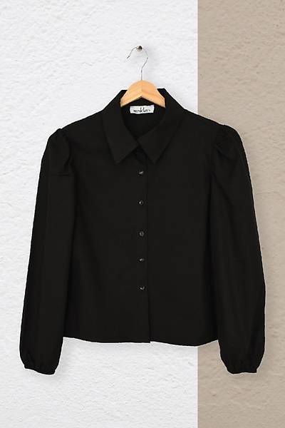 Renklen Kad�n Siyah Klasik Yaka B�zg� Kollu G�mlek