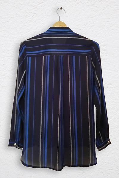Renklen Kad�n �izgi Desenli Kruvaze Yaka Mavi Bluz