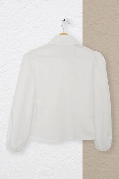 Renklen Kad�n Beyaz Klasik Yaka B�zg� Kollu G�mlek