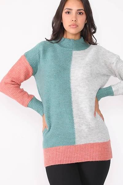 Renklen Kad�n Mint-Gri Renk Bloklu Kazak