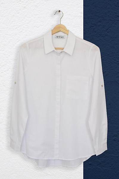 Renklen Kad�n Beyaz Gizli D��meli Klasik Yaka G�mlek