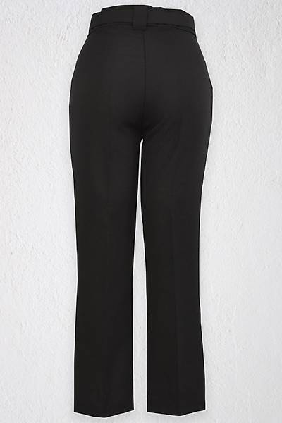 Renklen Kad�n Siyah Y�ksek Bel Yan Cepli Palaska Kemerli Pantolon
