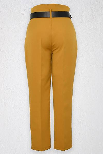 Renklen Kad�n Ya� Ye�ili Y�ksek Bel Yan Cepli Deri Kemerli Pantolon
