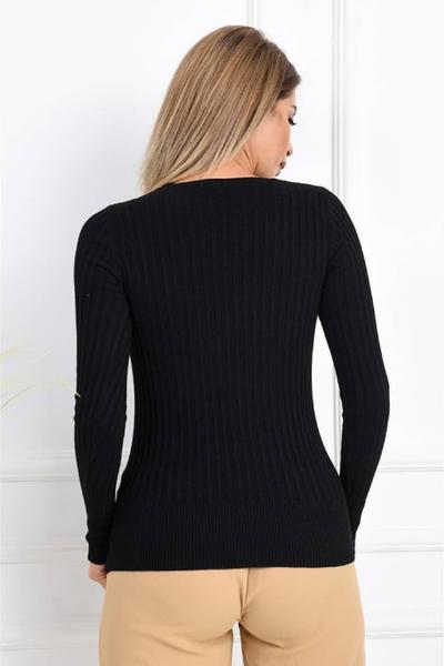 Renklen Kad�n Siyah Uzun Kollu V Yaka Triko