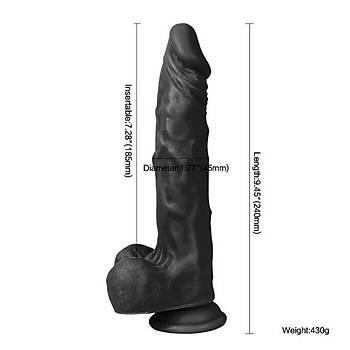 Dildo Series Siyah 23 Cm Esnek Realistik Penis Dildo