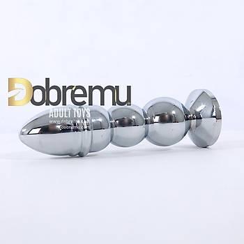Boðumlu Metal Büyük Boy Anal Plug 14 Cm