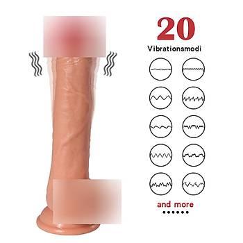 Yeni Nesil Realistik Vantuzlu Þarj Edilebilir 22 Cm Titreþimli Penis
