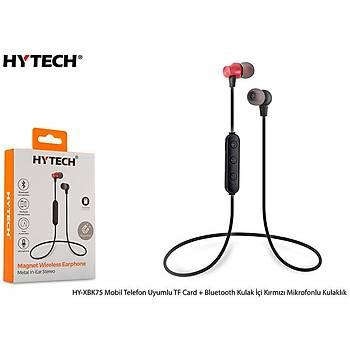 Hytech HY-XBK75 Mobil Telefon Uyumlu TF Card + Bluetooth Kulalk Ýçi Kýrmýzý Mikrofonlu Kulaklýk