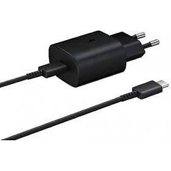SAMSUNG TA800 Fast Charging Siyah 25W Adaptör + Type-C To Type-C Kablo Þarj Aleti