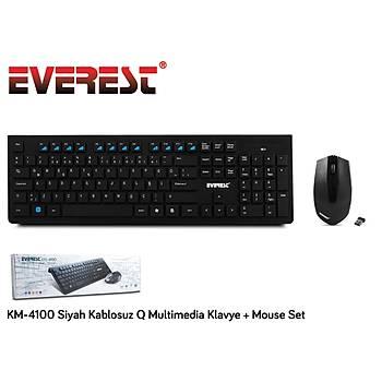 Everest KM-4100 Siyah Q Kablosuz Multimedya 106 Tuþlu Klavye Mouse Set 800 Dpý 3 Buton