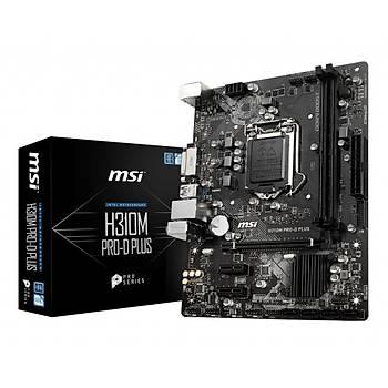 MSI H310M Pro-D Plus Ddr4 2666 Dvý Sata 6Gb-S Usb3.1 Matx Wýn7 Wýn10 Anakart